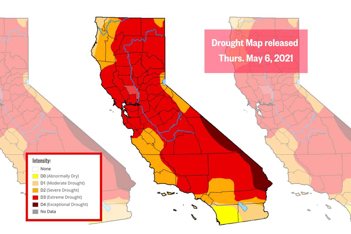 Drought Monitor map released Thursday, May 6, 2021, with data from May 4, 2021.