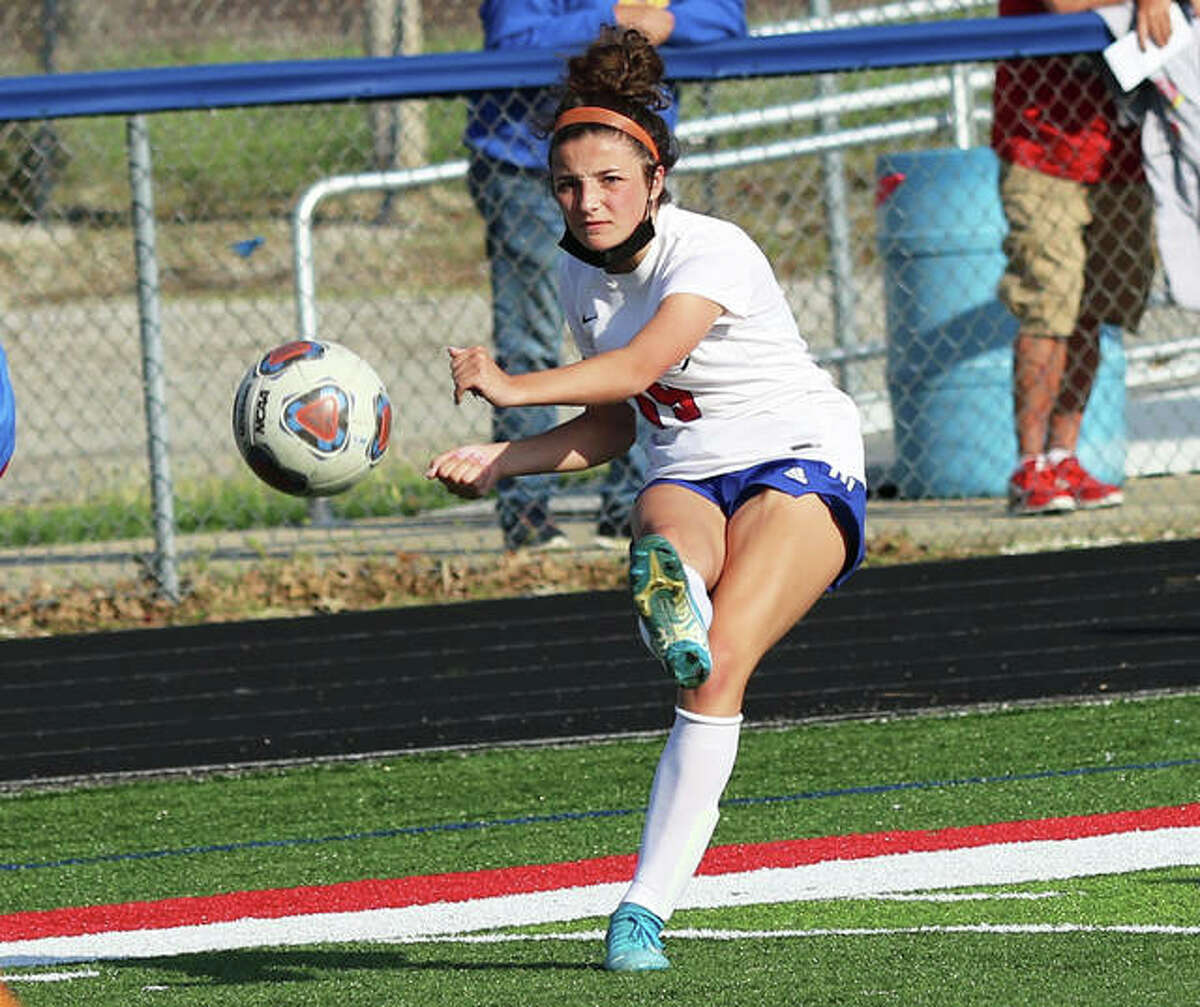 Roxana's Kendall Kamp, shown putting a shot on goal in a match at Carlinville last week, scored her team-leading seventh goal of the season Wednesday in the Shells' 2-1 Metro Cup win over Waterloo Gibault at Belleville Althoff.