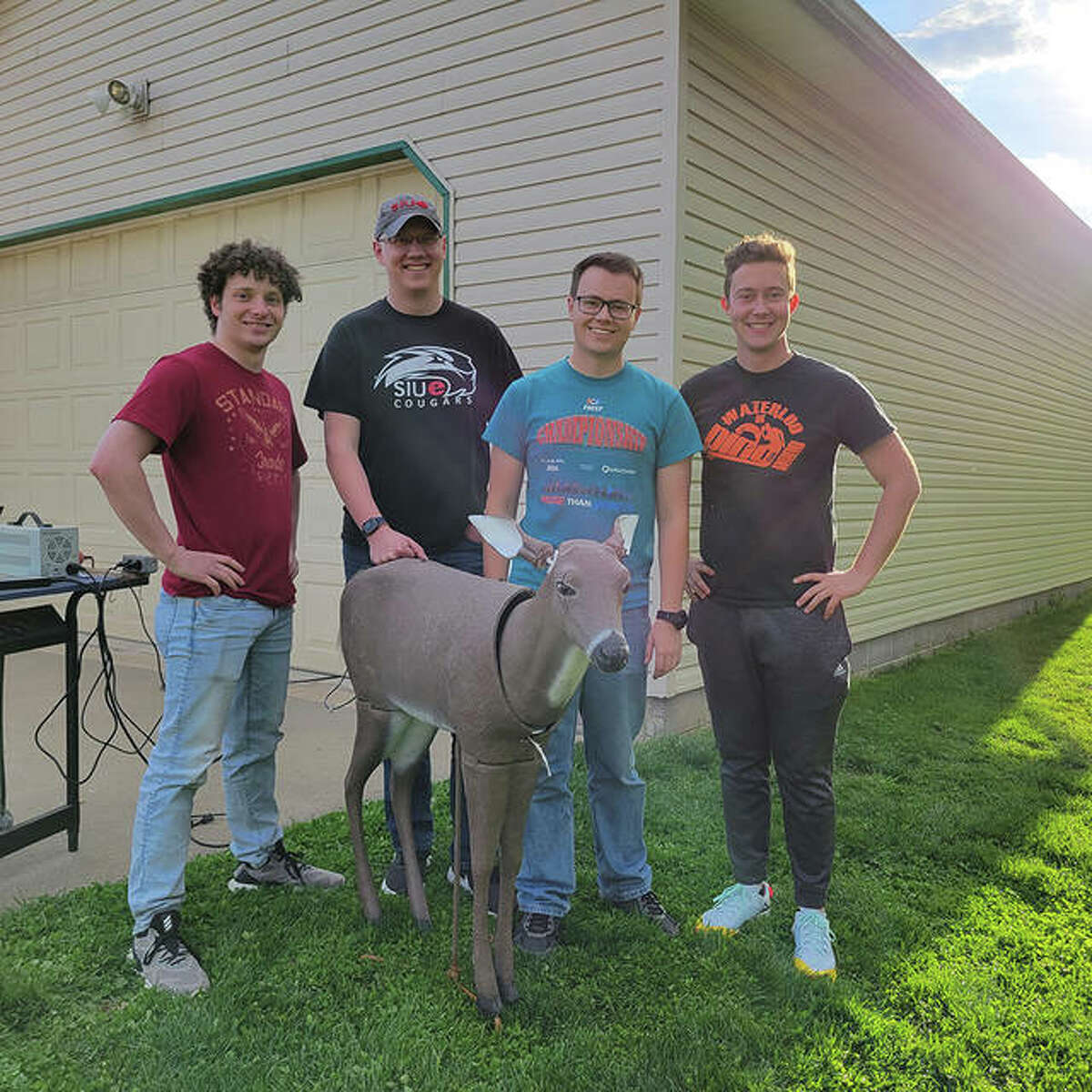 The BambAI team, from left, of Nathan Medsker, Zach Pappas, Joe Phillips and Tim Nodorft won first place in TheOther40 business plan competition by the Southern Illinois University Edwardsville's School of Business. The team created a remotely controlled animatronic deer decoy that mimics deer behavior.