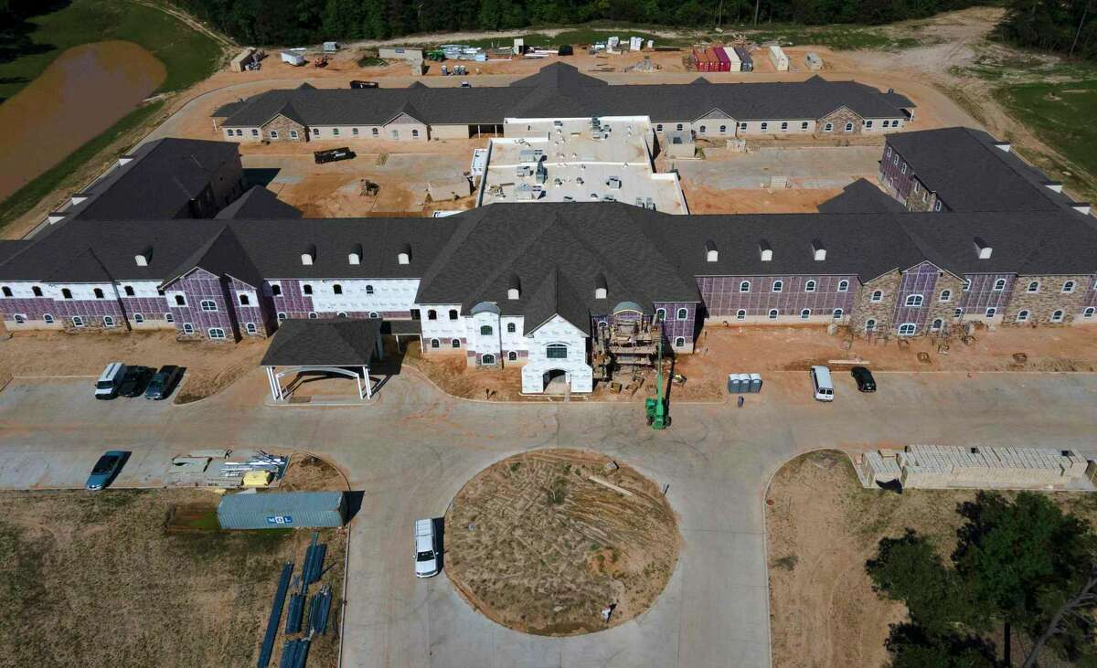 Construction continues on Worthington Manor at the Lakes of Wedgewood, Wednesday, May 5, 2021, in Conroe. The 135,000 square-foot senior living complex sits on 26 acres and will included 72 assisted living apartment and 46 memory care units. The development is funded in part by the U.S. Housing and Urban Development (HUD) Federal Housing Administration.