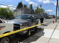 Albany police are investigating a crash that badly injured a man Thursday morning on WatervlietAvenue. The impact of the carcaused a chain reaction that crushed a man between two parked cars, police said.