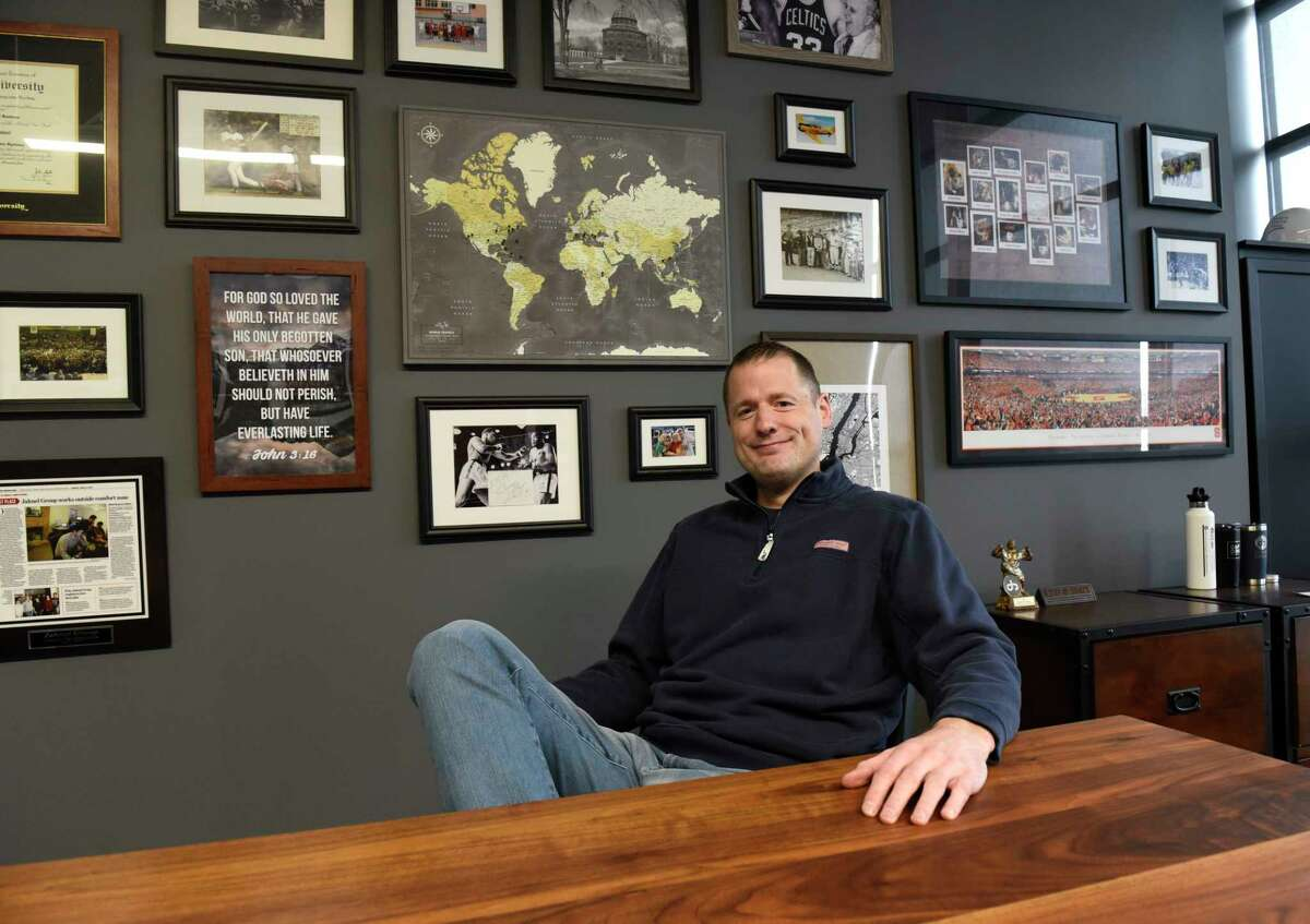 Jahnel Group CEO Darrin Jahnel sits in his office at Jahnel Group on Friday, April 16, 2021 in Schenectady, N.Y.(Lori Van Buren/Times Union)