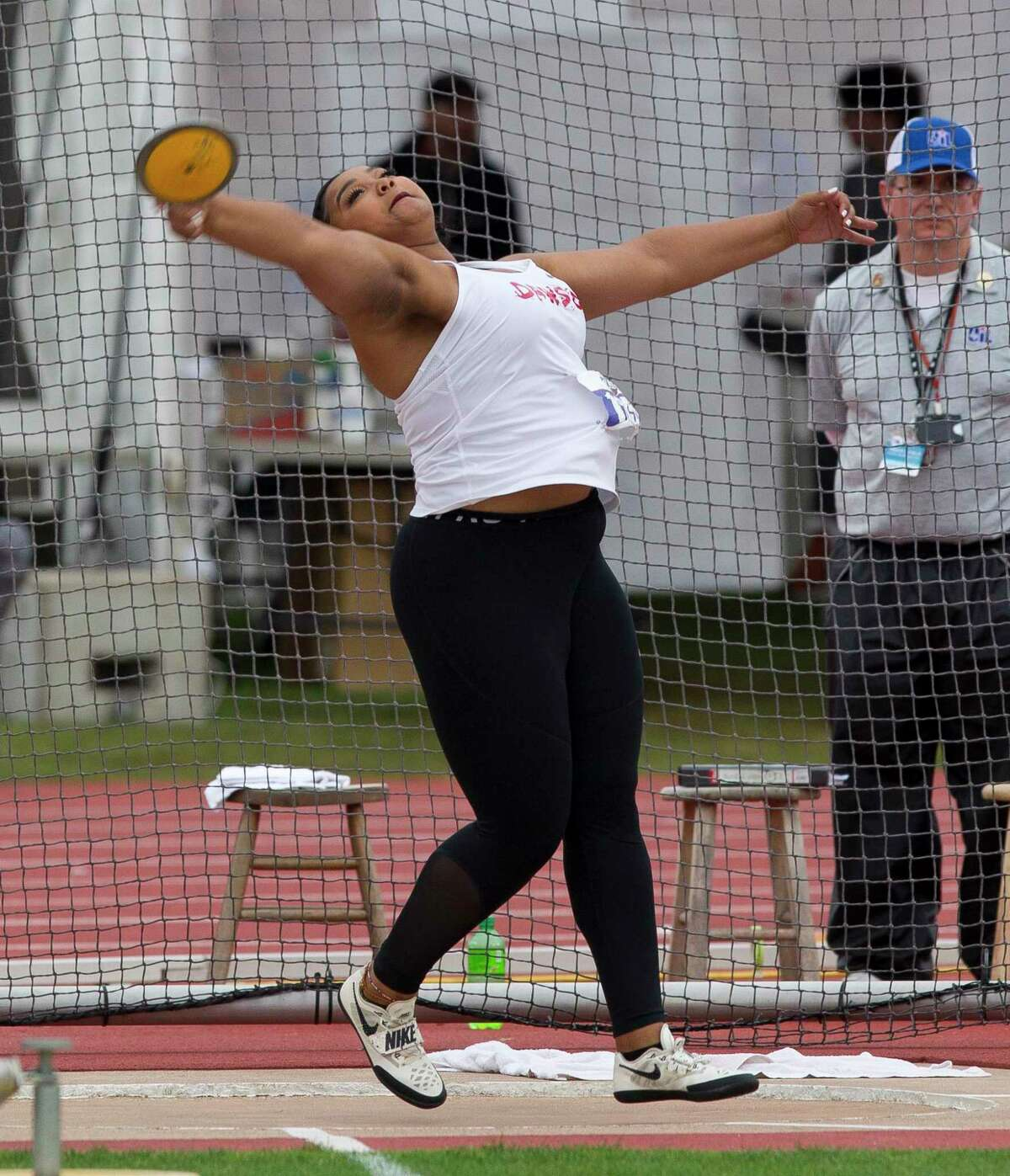 Chrystal Herpin of Pearland Dawson competes in the 6A girls discus during the UIL State Track & Field Championships at Mike A. Myers Stadium, Saturday, May, 11, 2019, in Austin.