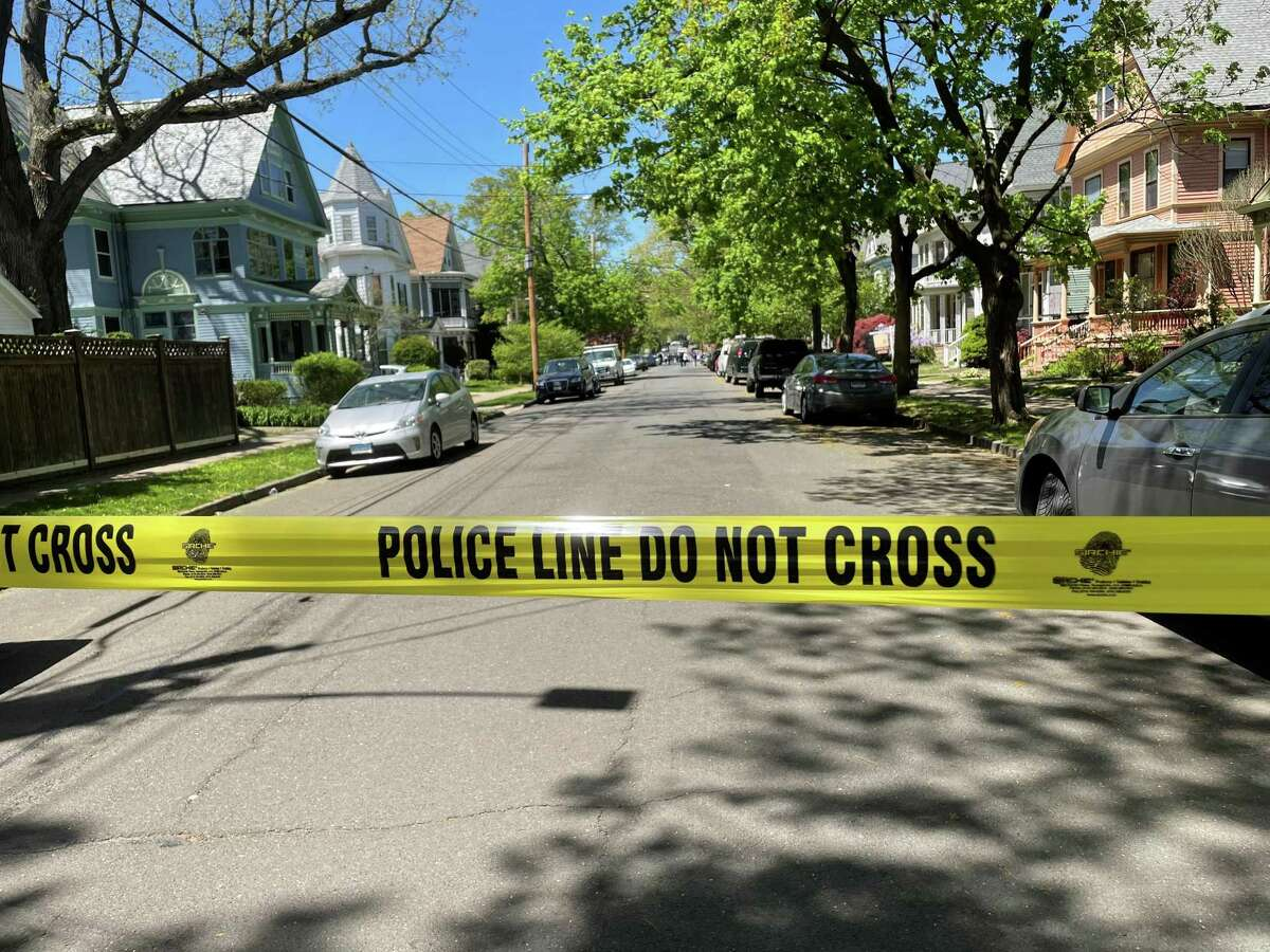 Police tape blocks off Livingston Street in New Haven, Conn., on Thursday, May 6, 2021.