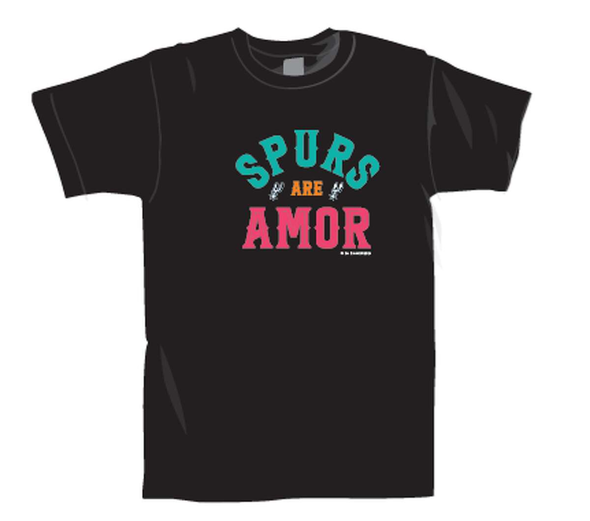 """Spurs Give, the team's non-profit, unveiled """"Spurs are Amor,"""" a line of six T-shirts and a bandana, on Thursday. The fundraiser benefits the group's efforts in giving back to the city, the press release says."""