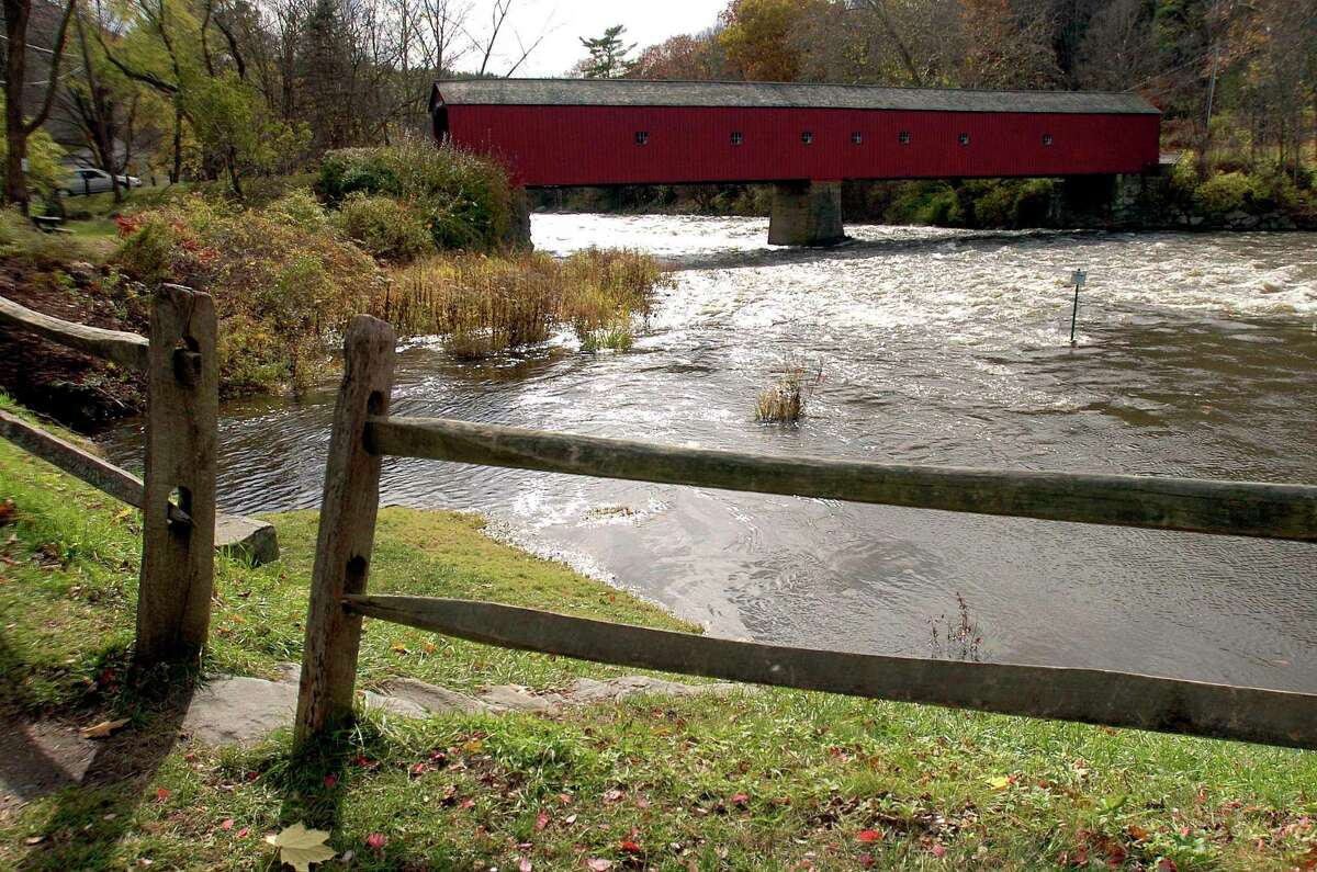 The West Cornwall Bridge is seen here in Cornwall, Conn., Sunday, Oct. 29, 2006. The bridge, which is listed on the National Register of Historic Places, spans 172 feet across the Housatonic River between the towns of Cornwall and Sharon.