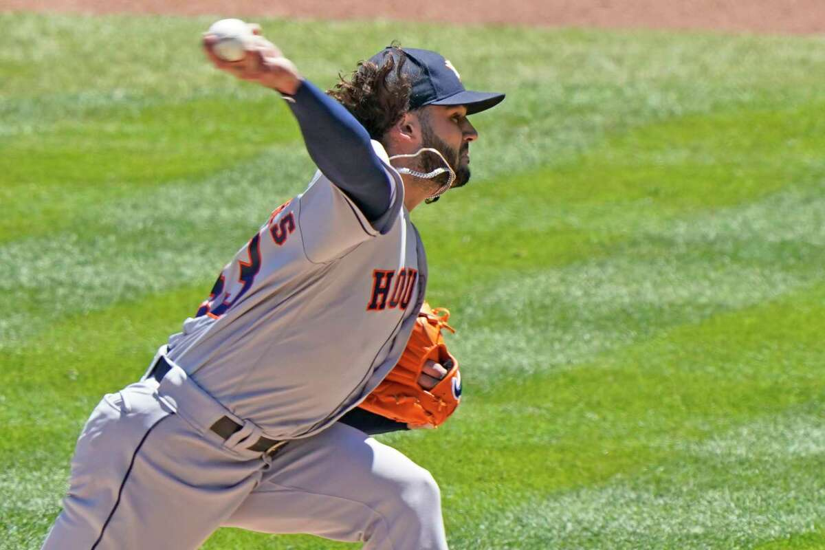Houston Astros starting pitcher Lance McCullers Jr. throws a pitch in the first inning of a baseball game against the New York Yankees, Thursday, May 6, 2021, at Yankee Stadium in New York. (AP Photo/Kathy Willens)