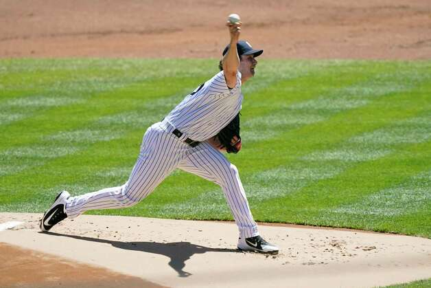 New York Yankees starting pitcher Gerrit Cole delivers during the first inning of a baseball game against the Houston Astros, Thursday, May 6, 2021, at Yankee Stadium in New York. (AP Photo/Kathy Willens) Photo: Kathy Willens, Associated Press / Copyright 2021 The Associated Press. All rights reserved.