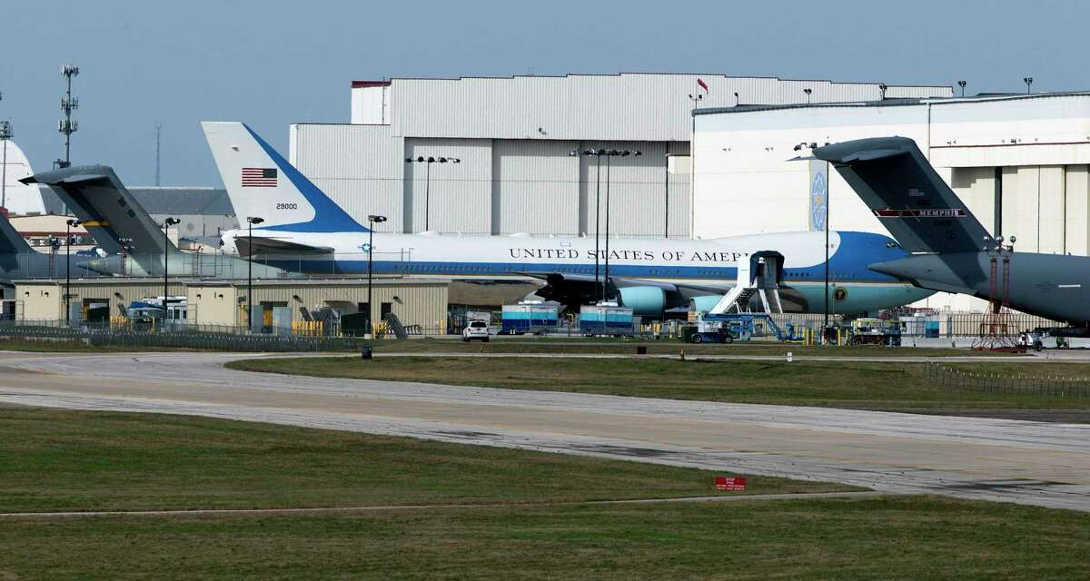 GDC Technics and Boeing Co. first entered into contracts in 2016 for GDC to refurbish and perform certain maintenance upgrades of Air Force One jets. One of the aircraft was photographed in 2017 at Boeing's repair facility at Port San Antonio.