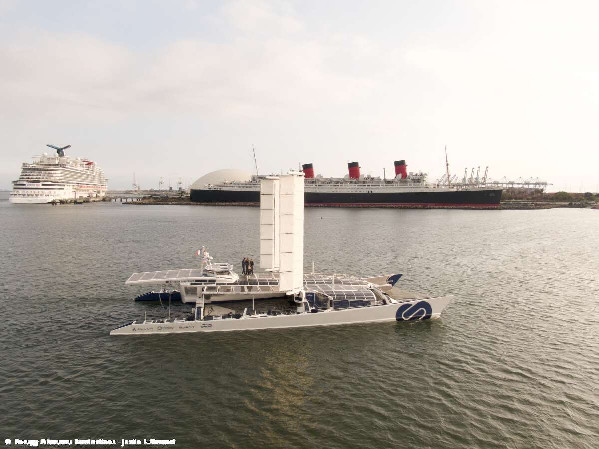 The Energy Observer, a massive catamaran powered by renewable energies and hydrogen, made its first ever stopover in the United States in Long Beach, Calif., on April 23, 2021.
