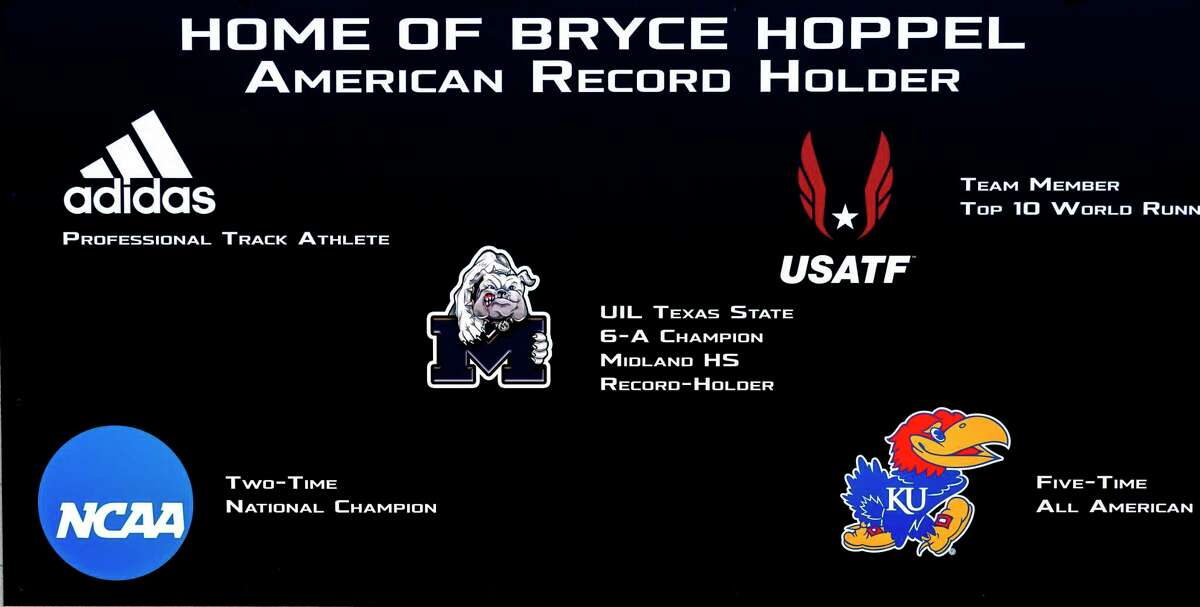 New tribute plaque in honor of the accomplishments of Bryce Hoppel 05/06/2021 at Memorial Stadium. Tim Fischer/Reporter-Telegram