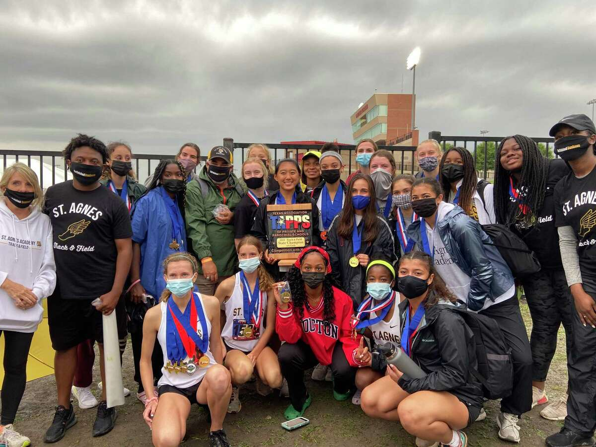 St. Agnes Academy won its fifth consecutive TAPPS state track and field championship, winning nine events and receiving points from 17 athletes to score 189.5 points.