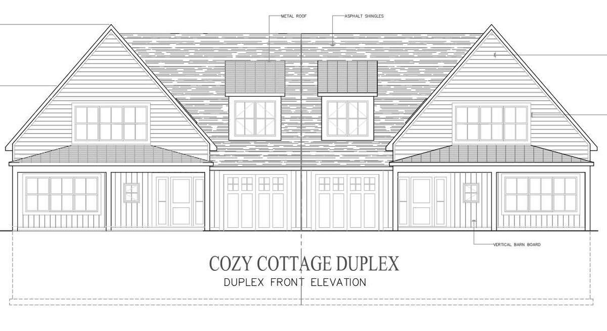 Architectural plans show the exterior of a duplex at a planned elderly-housing development at 40 Fullin Road.