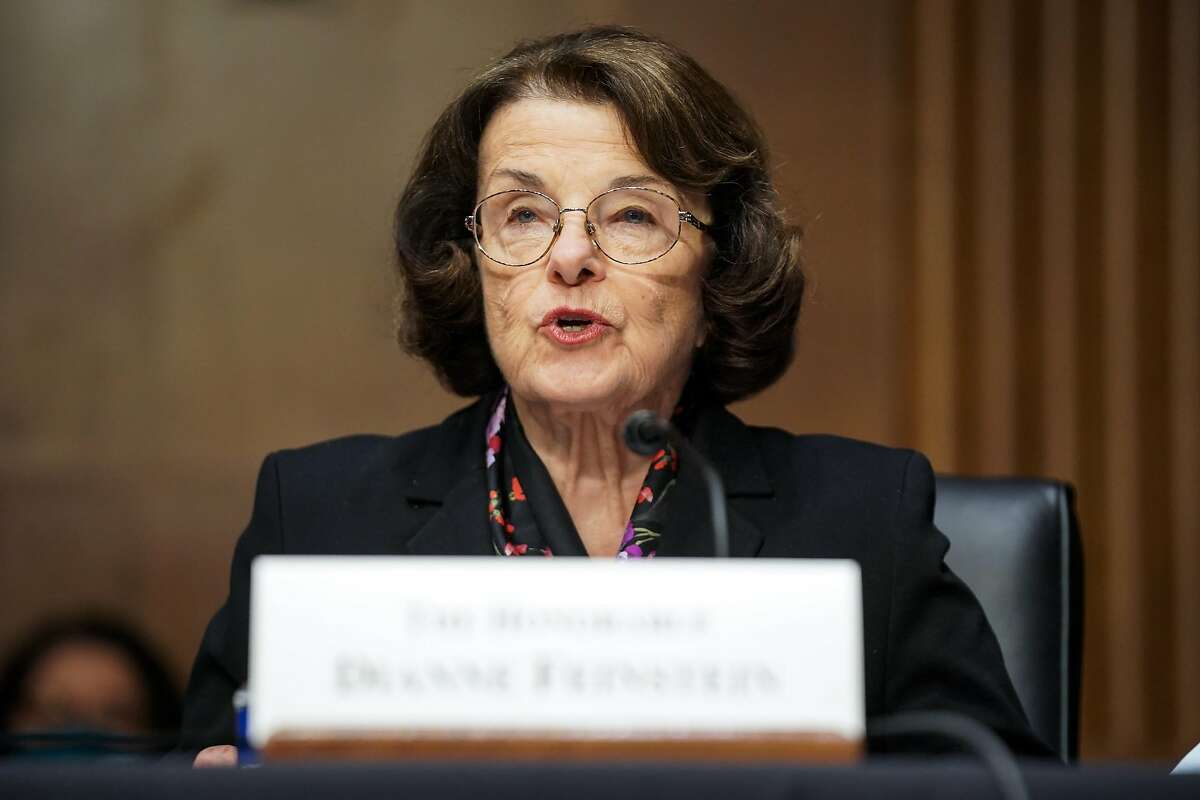 Sen. Dianne Feinstein (D-CA) introduces Xavier Becerra, nominee for Secretary of Health and Human Services, during his Senate Finance Committee nomination hearing on February 24, 2021 in Washington, DC.