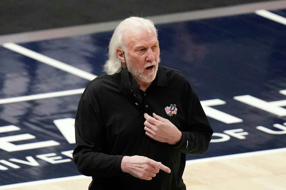 San Antonio Spurs coach Gregg Popovich watches during the first half of the team's game against the Utah Jazz on Wednesday in Salt Lake City.