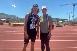 Linus Mannino (left) with his coach Cassie Murphy at the state track and field championships in Austin on Thursday.