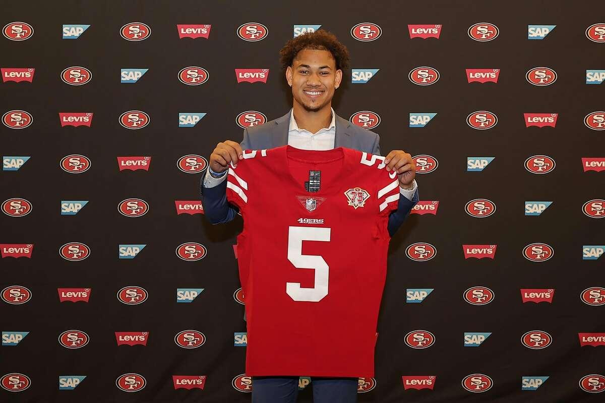 San Francisco 49ers first-round draft pick QB Trey Lance's arrival at Levi's Stadium on April 30.