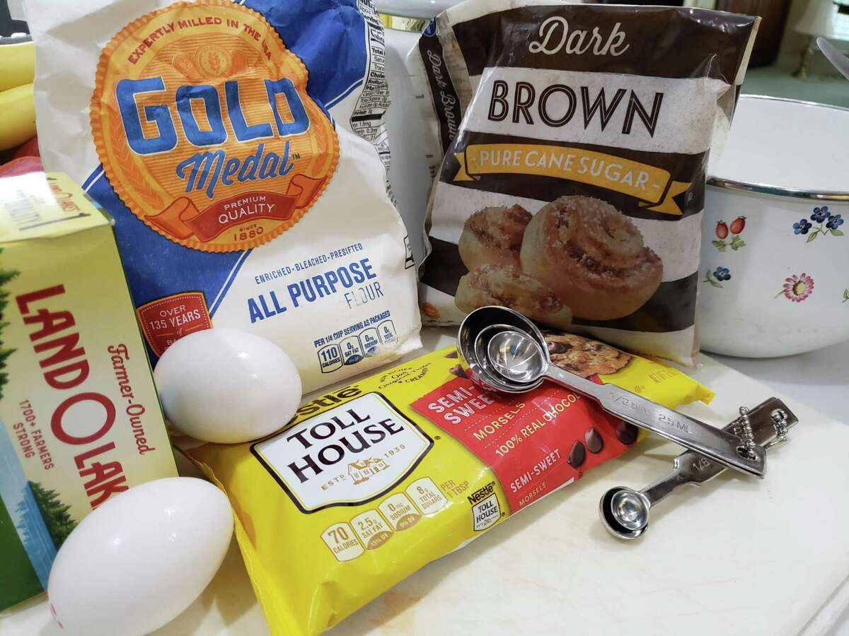 The basic cookie dough recipe of brown and white sugar, butter, eggs, flour and vanilla.