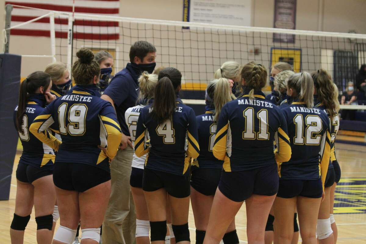 In this file photo, Kevin Schmutzler coaches Manistee volleyball. Schmutzler will be stepping down as athletic director and Manistee Middle High School assistant principal at the end of the school year to take on a superintendent position at West Iron County Schools.