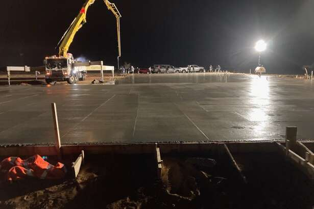 Photo of the slab being poured in mid March 2021 on the land graciously donated to the Fellowship Baptist Church 11 years ago by Roy Graham, for the purpose of building a new church. The new church is located on FM 1379 (Greenwood Area) just south of the Greenwood schools and next to the Greenwood Fire Station.