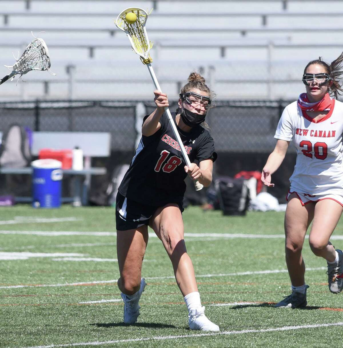 Cheshire's Raegan Bailey takes a shot against New Canaan at Dunning Field on Saturday.