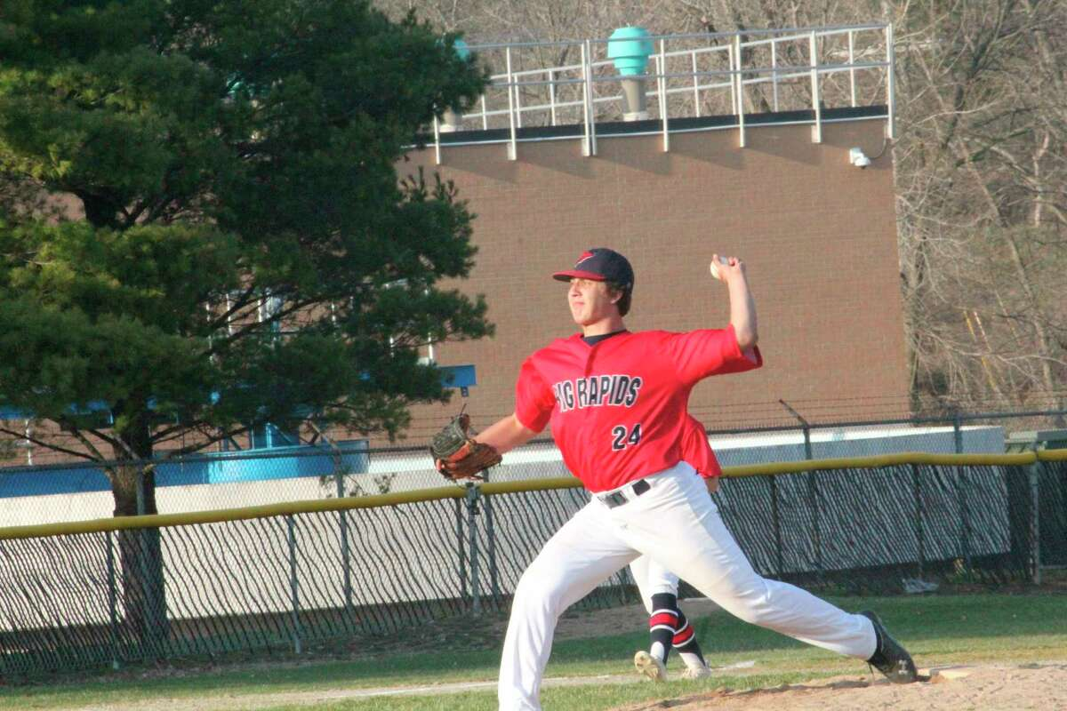 Big Rapids pitcher Sawyer Meeuwes delivers to home plate during a recent baseball game. (Pioneer file photo)