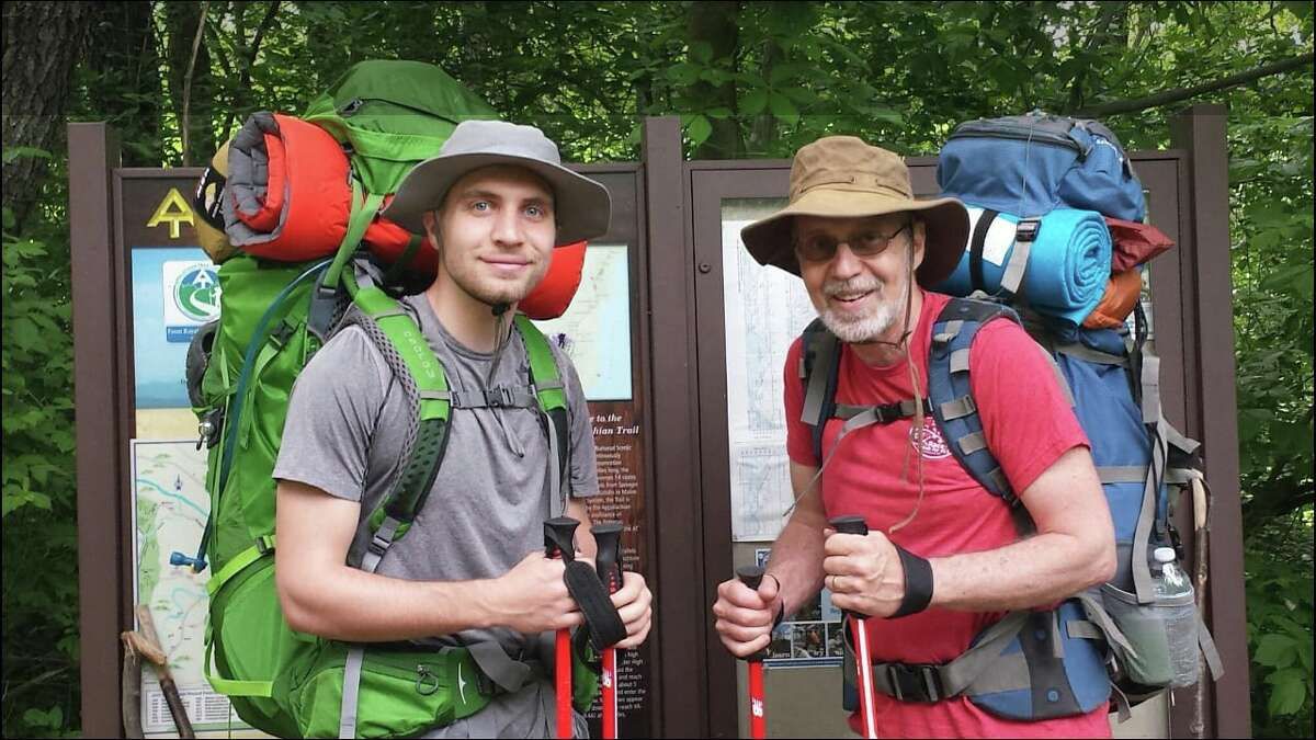 Peter Butryn, right, and his son, Andrew, on the Appalachian Trail near Shenandoah National Park in August of 2018.