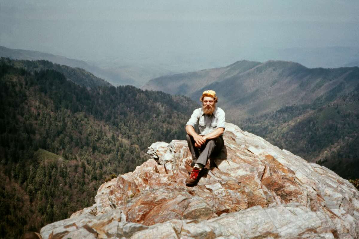 Peter Butryn at Charlie's Bunion in the Great Smoky Mountains in the spring of 1981, during his hike on the Appalachian Trail.
