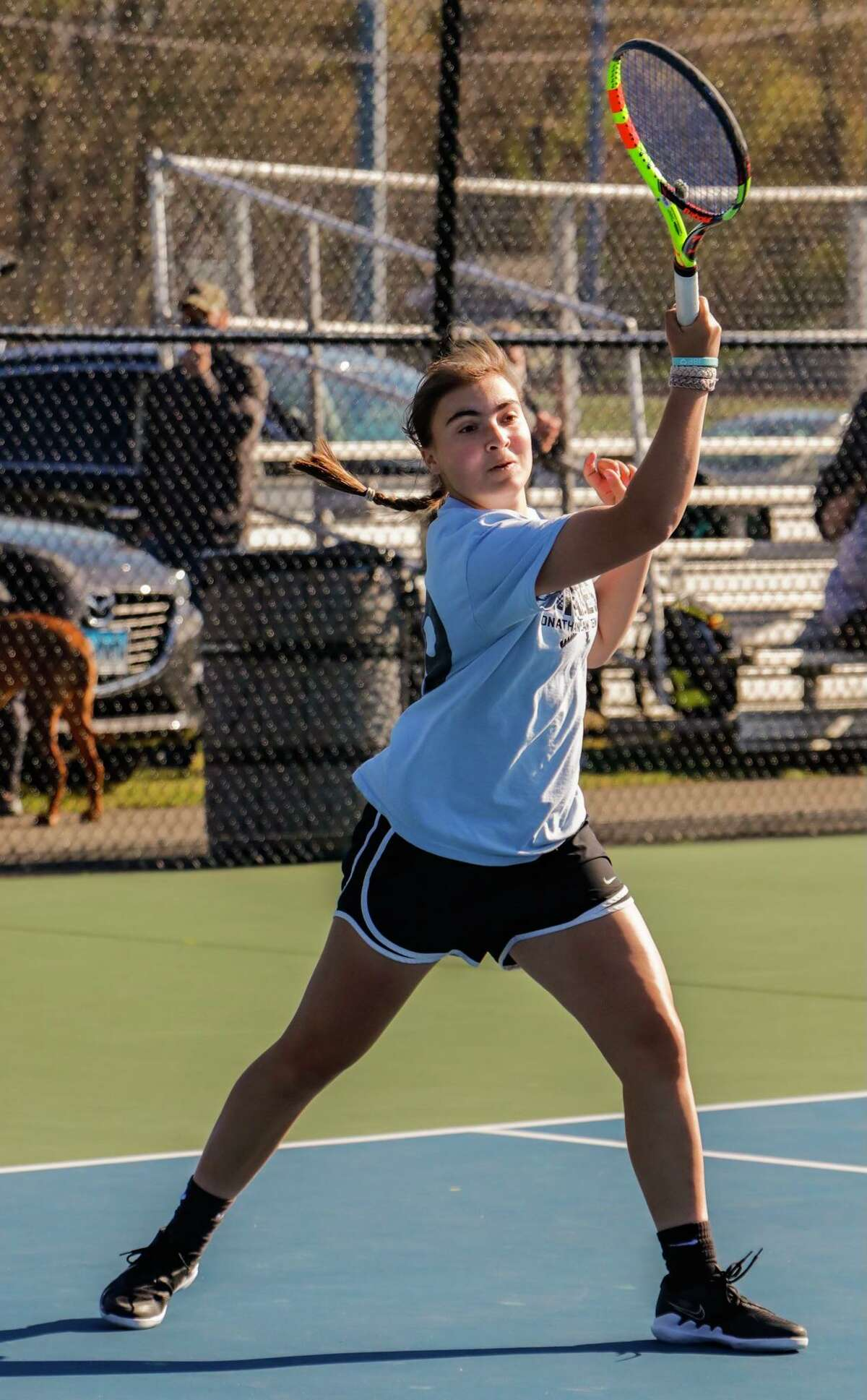 Lucia Pino earned All-State as a freshman. She is 10-0 at No. 1 singles as a junior.