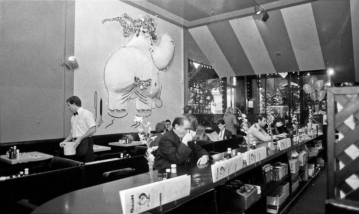 The Hippo Burger restaurant on Van Ness Avenue in San Francisco on Nov. 23, 1983, with a hippopotamus sculpture on the wall. The Hippo was a popular dining spot from the 1950s to 1980s.