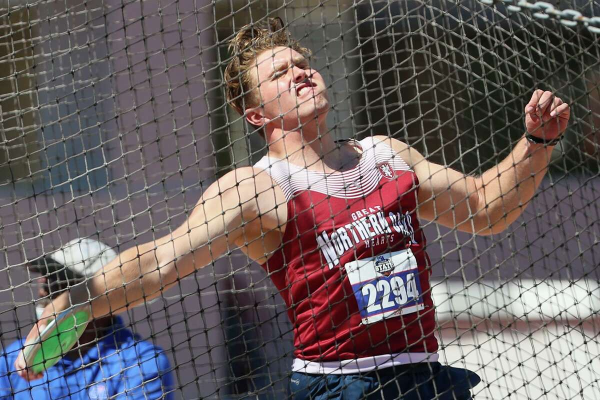 Great Hearts Northern Oaks' John Hanson throws the disc in the 3A boys discus throw during the UIL state track and field championships at Mike A. Myers Stadium in Austin on Thursday, May 6, 2021. Hanson won the event with a throw of 174-6.