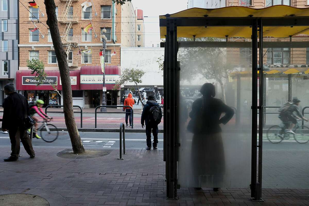 Bus stop and street scene on the 1000 block of Market St. seen on Tuesday, Aug. 14, 2018 in San Francisco, Calif. Police say this is the area where Patrick Thompson, 54, allegedly stabbed two elderly Asian women on Tuesday, May 4, 2021.