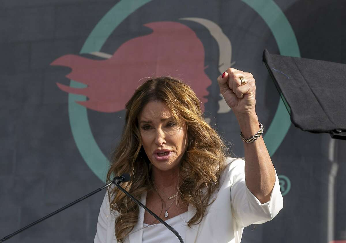 FILE - In this Jan. 18, 2020, file photo, Caitlyn Jenner speaks at the fourth Women's March in Los Angeles. Jenner, the former Olympic champion and reality TV personality now running for California governor, said she opposes transgender girls competing in girls' sports at school. Jenner told a TMZ reporter on Saturday, May 1, 2021, that it's