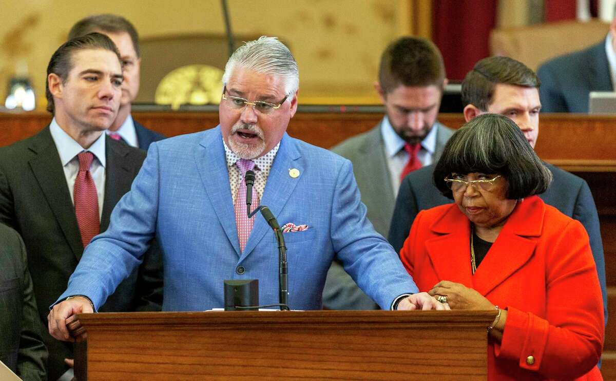 State Rep. Dan Huberty, R-Houston, presents House Bill 3 on the floor House Chamber at the Texas Capitol in Austin, Wednesday, April 3, 2019.(Stephen Spillman / for Express-News)
