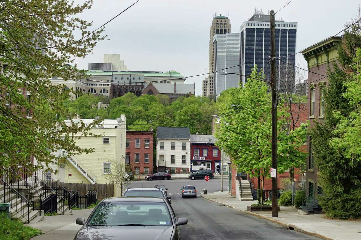 A view looking down N. Swan St. in the Arbor Hill neighborhood on Monday, May 3, 2021, in Albany, N.Y. (Paul Buckowski/Times Union)