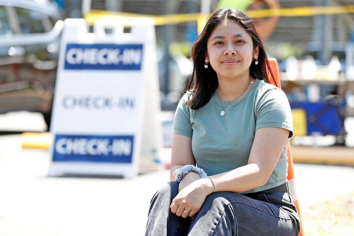 Santa Clara County youth ambassador Erica Huynh at Berger Drive vaccine center in San Jose, Calif., on Thursday, May 6, 2021.
