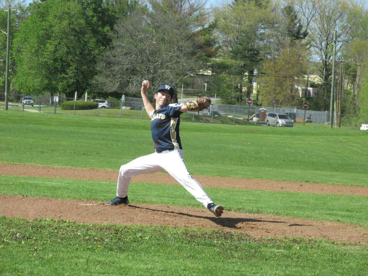 Wolcott Tech starting pitcher Jon Routhier led the Wildcats on the mound and at bat in a Tech win over Gilbert Thursday afternoon at Wolcott Tech High School.