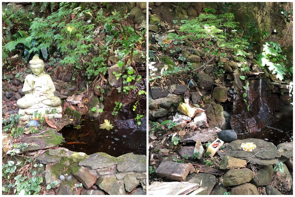 The 2-foot-tall stone Buddha statue before it was stolen, left. At right, what the small pond's edge looks like now.