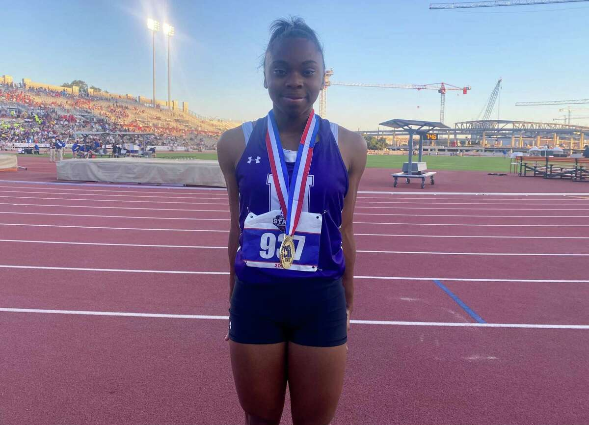Jayla Franklin won two gold medals on Thursday during the UIL state track meet in Austin.