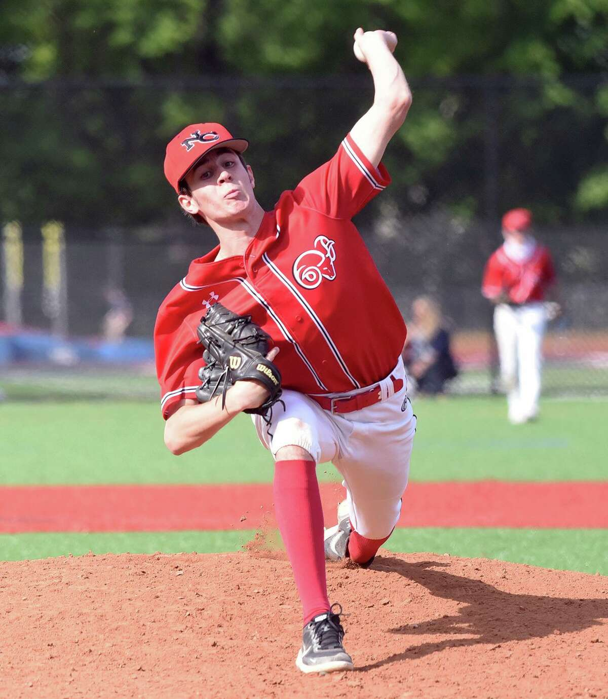 The New Canaan and Brien McMahon baseball teams compete at BMHS in Norwalk on Thursday, May 6, 2021