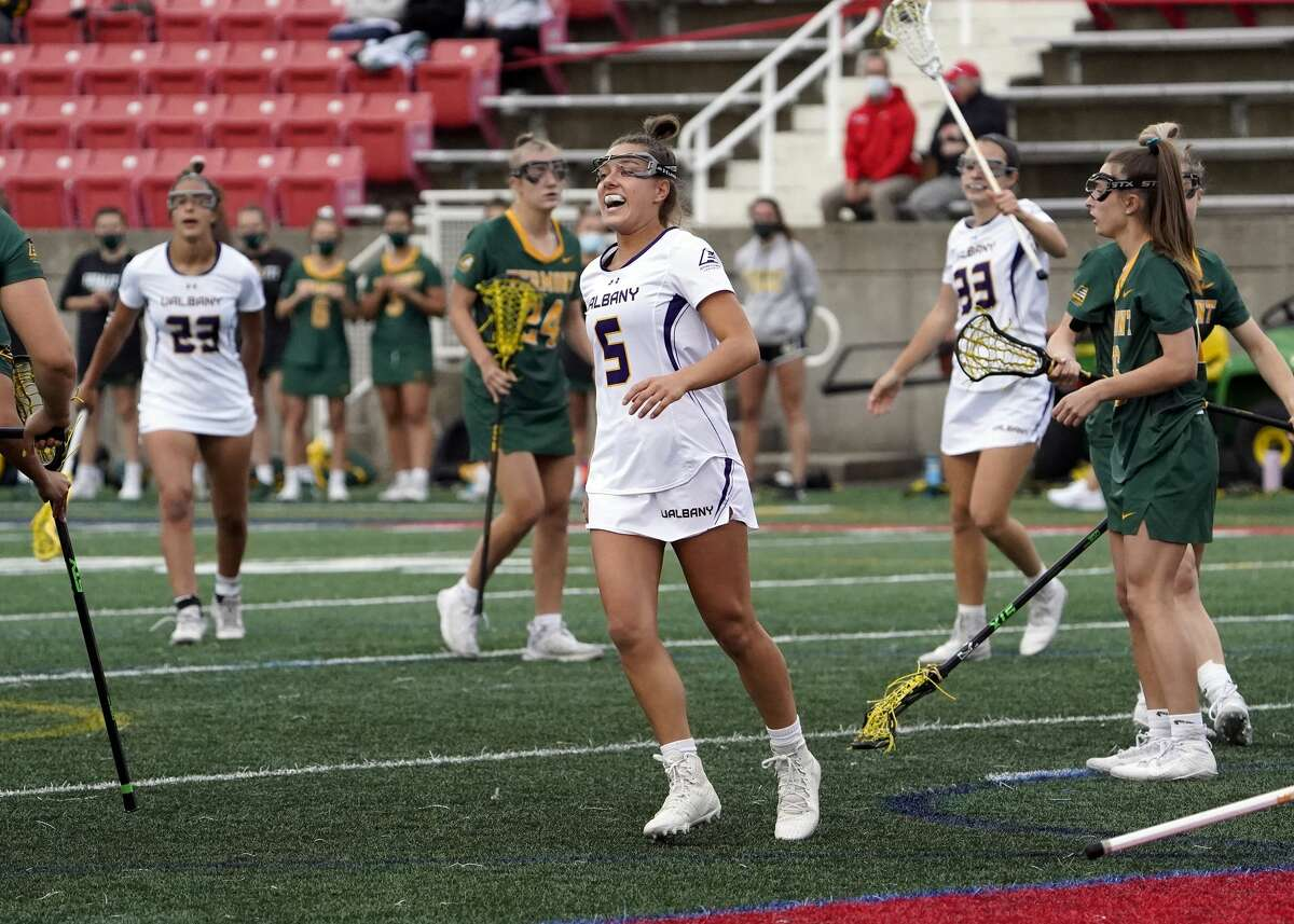 UAlbany's Kyla Zapolski reacts after scoring a goal against Vermont in a semifinal game of the America East playoffs at Stony Brook University in Stony Brook, N.Y., on Thursday, May 6, 2021. (Gregory A. Shemitz / Special to the Times Union)