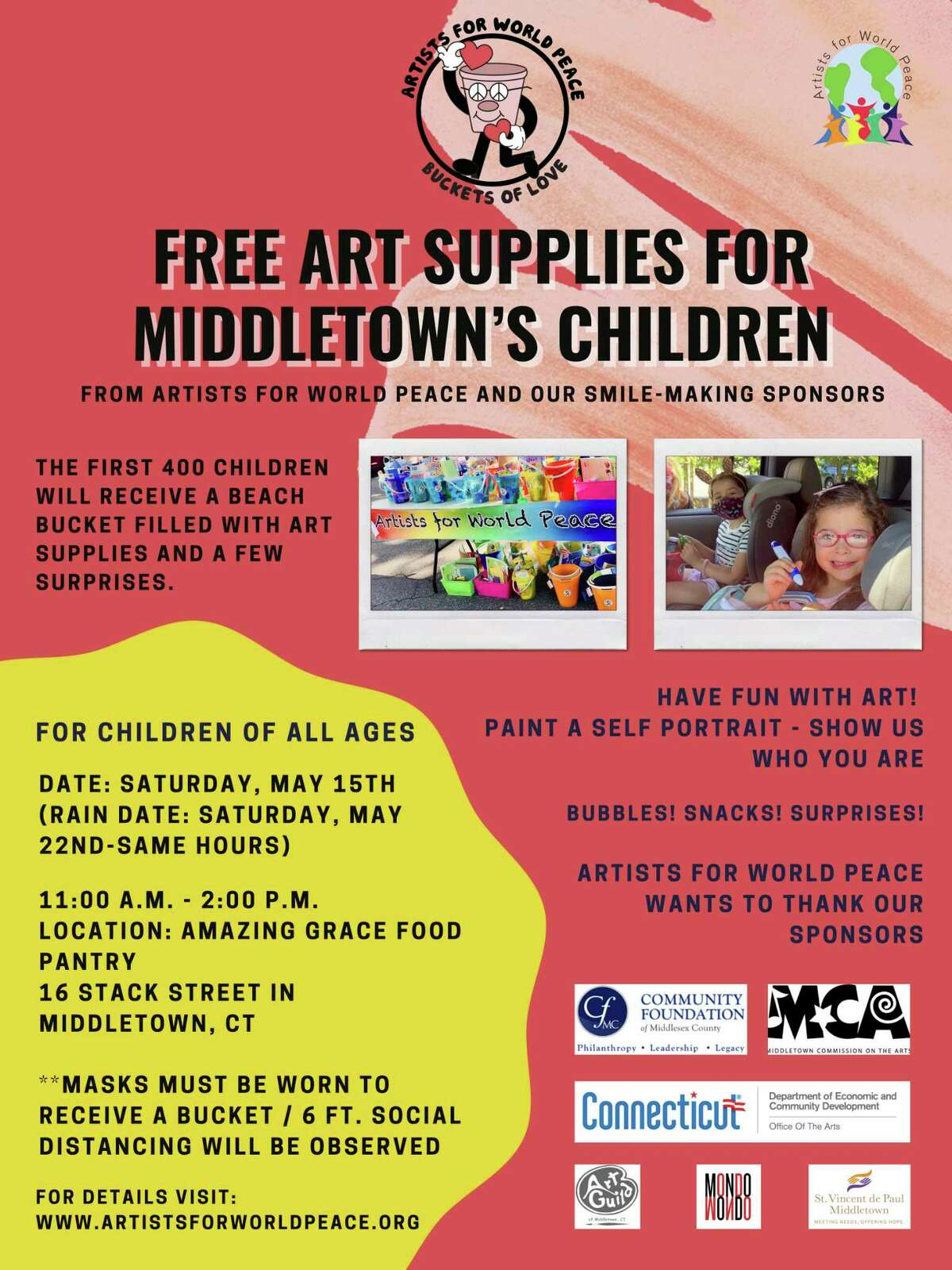 Artists for World Peace will host its 2nd Annual Buckets Of Love, 11 a.m.-2 p.m. May 15 at Amazing Grace Food Panty, 16 Stack St. Middletown. Free buckets filled with art supplies and surprises will be distributed to the first 400 children. An art tent where kids can paint a self portrait on a 6
