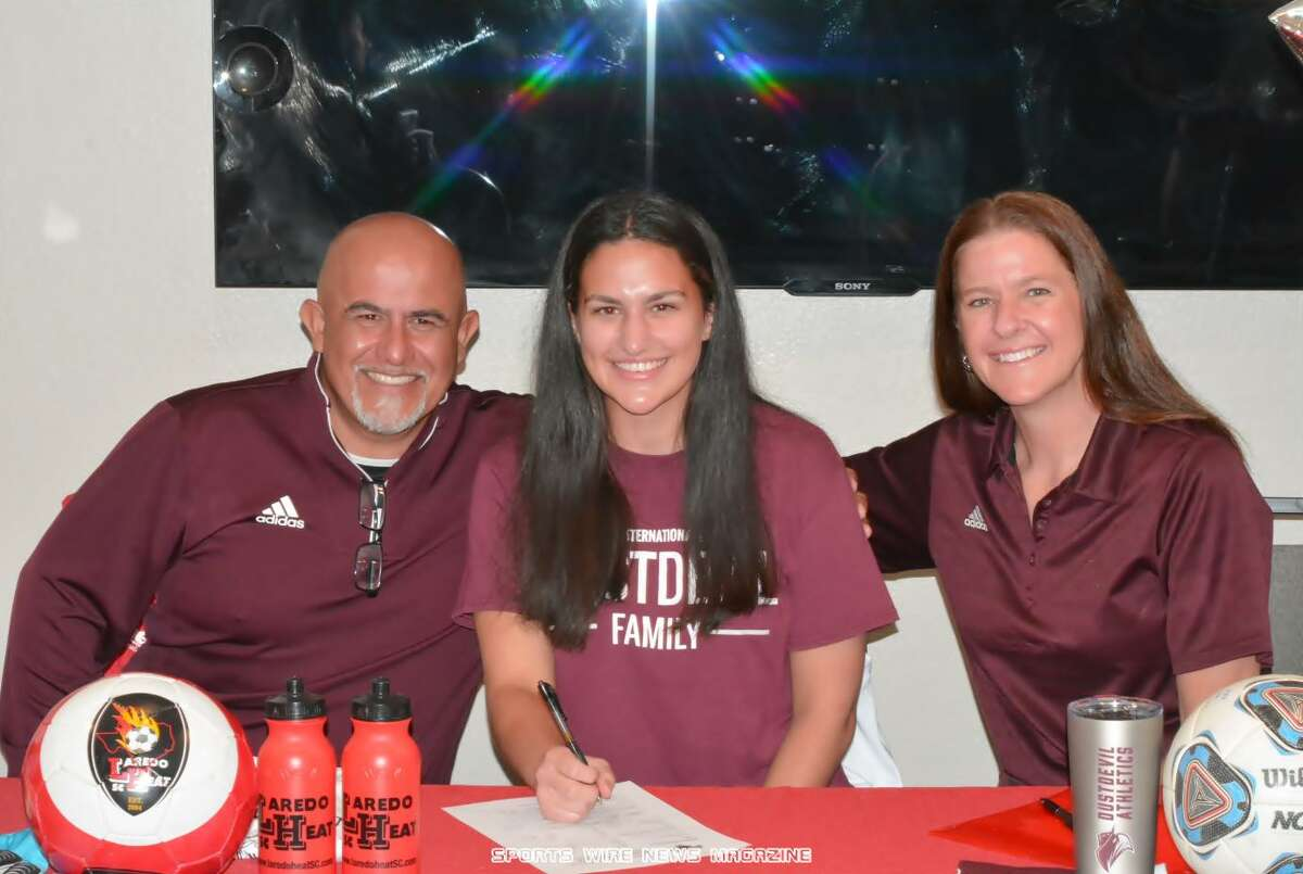 Andrea Arias committed Thursday to the Texas A&M International women's soccer team. Her father Claudio Arias is the TAMIU men's soccer coach.