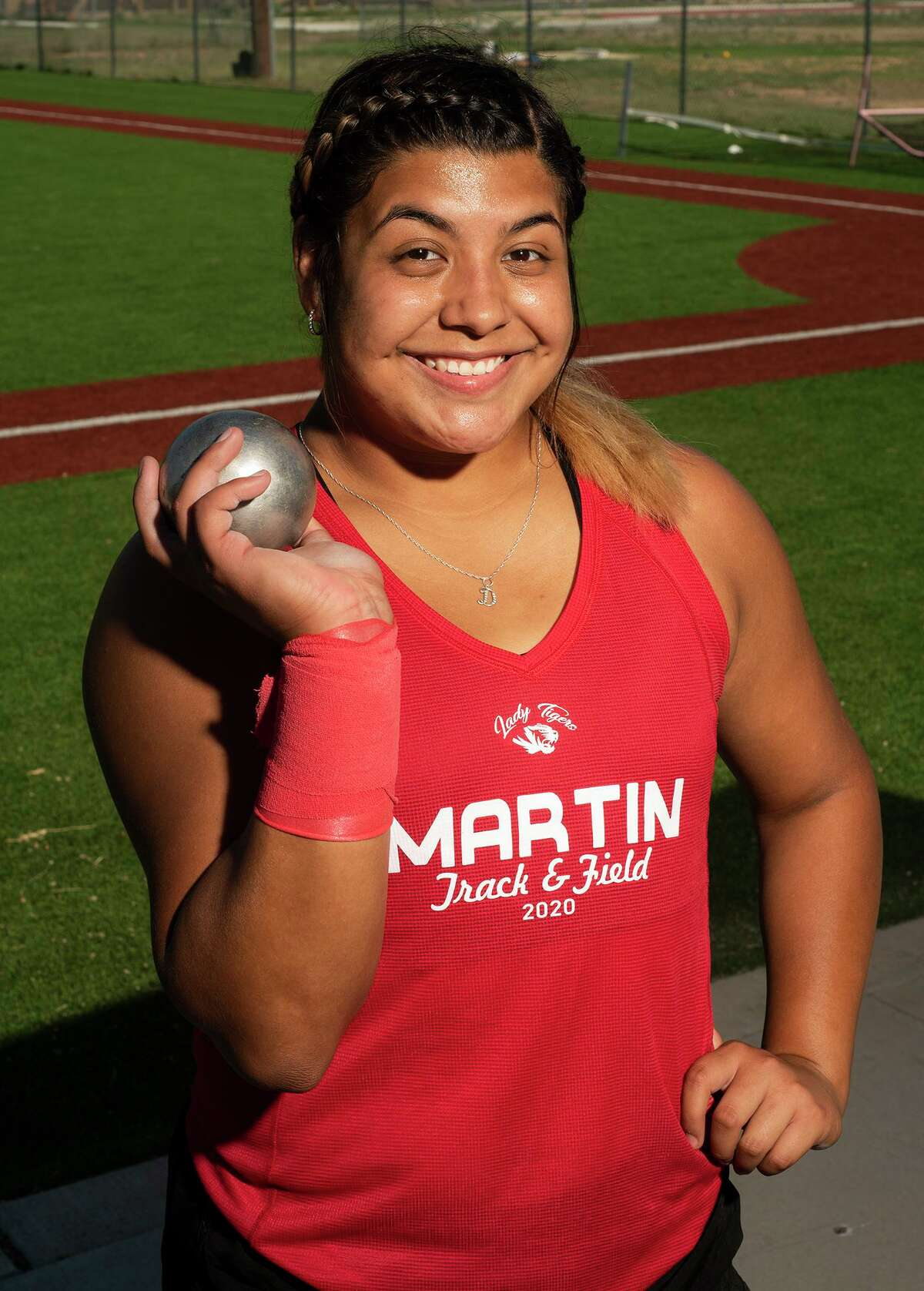 Martin High School track athlete Melanie Duron poses for a feature photo, Wednesday, May 6, 2021, at Martin High School.