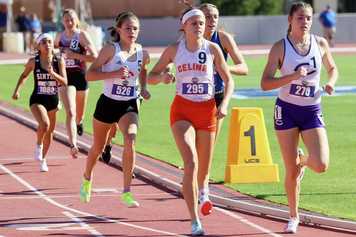 Fredericksburg's Taylor Grona (5) runs just off the lead midway through the 4A girls 800-meter run in the UIL state track and field championships at Mike A. Myers Stadium in Austin on Thursday, May 6, 2021. Grona finished third in the event with a time of 2:16.29.