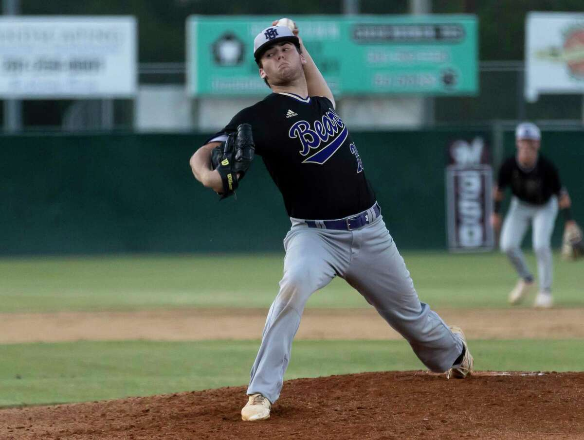 Montgomery starting pitcher Chase Davis (25) throws during the second inning in Game 1 of a Region III-5A bi-district baseball series against Magnolia at Magnolia High School, Thursday, May 6, 2021, in Magnolia.