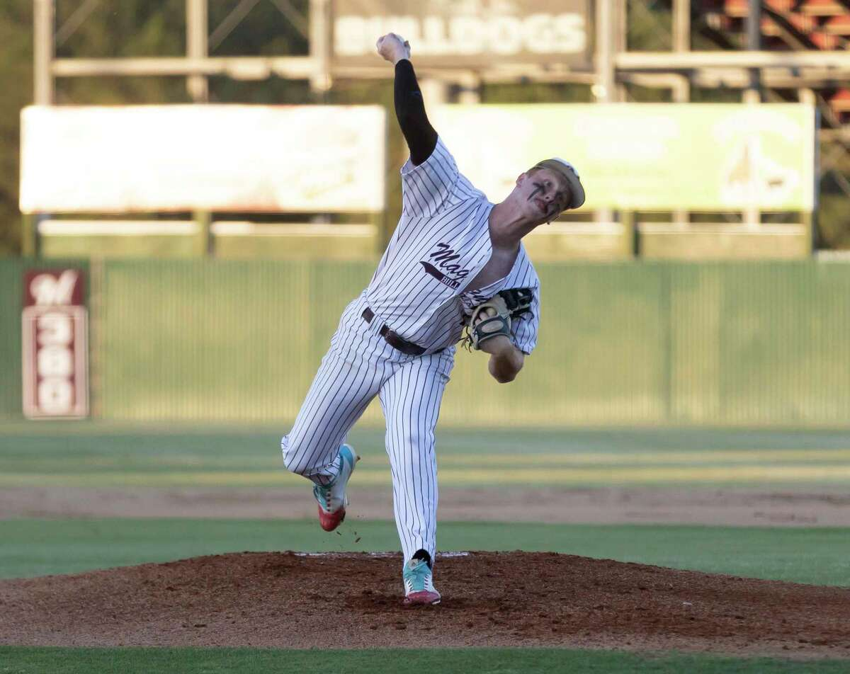 Magnolia pitcher Cameron Nickens (7) throws during the first inning in Game 1 of a Region III-5A bi-district baseball series against Montgomery at Magnolia High School, Thursday, May 6, 2021, in Magnolia.