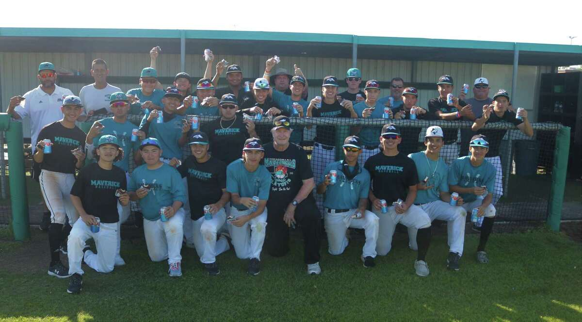 The Mavs pose for their moon pies and cola team picture following practice Thursday. Memorial begins a best-of-3 series Friday night vs North Shore at Mustang Stadium. Game time is 7.