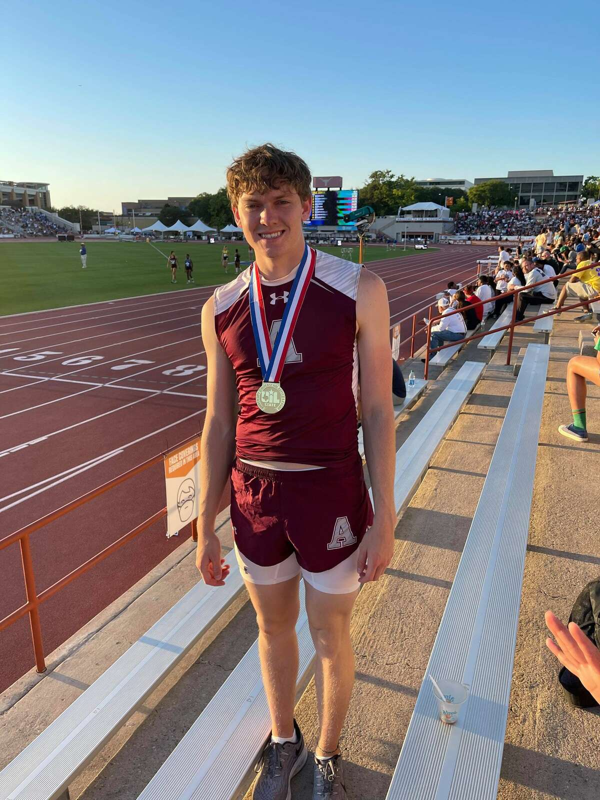 Abernathy's Konnor Hoerman won gold by claiming the Class 3A 110-meter hurdles state championship on Thursday.