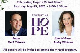 """The flyer for """"2021 Celebrating Hope"""" from The Alzheimer's Association Connecticut Chapter gives details about the 8th annual May 15, virtual event."""